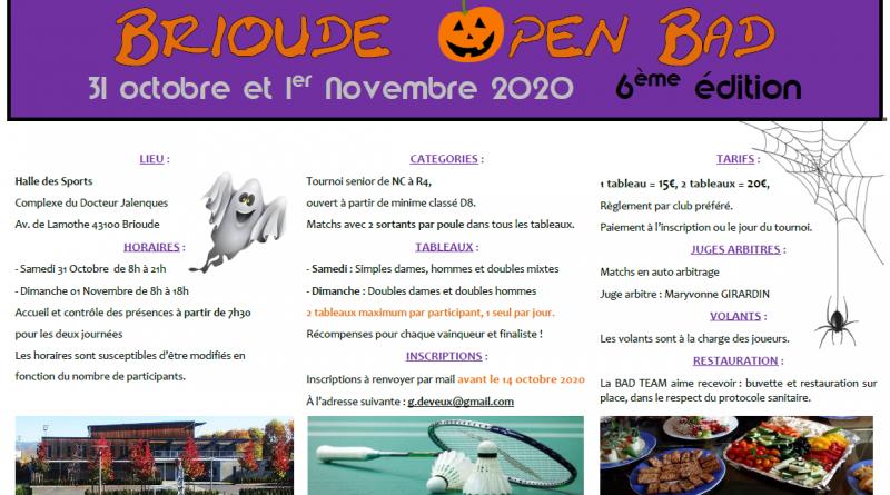 Brioude Open Bad – 6ème Edition – 31/10 et 01/11/2020